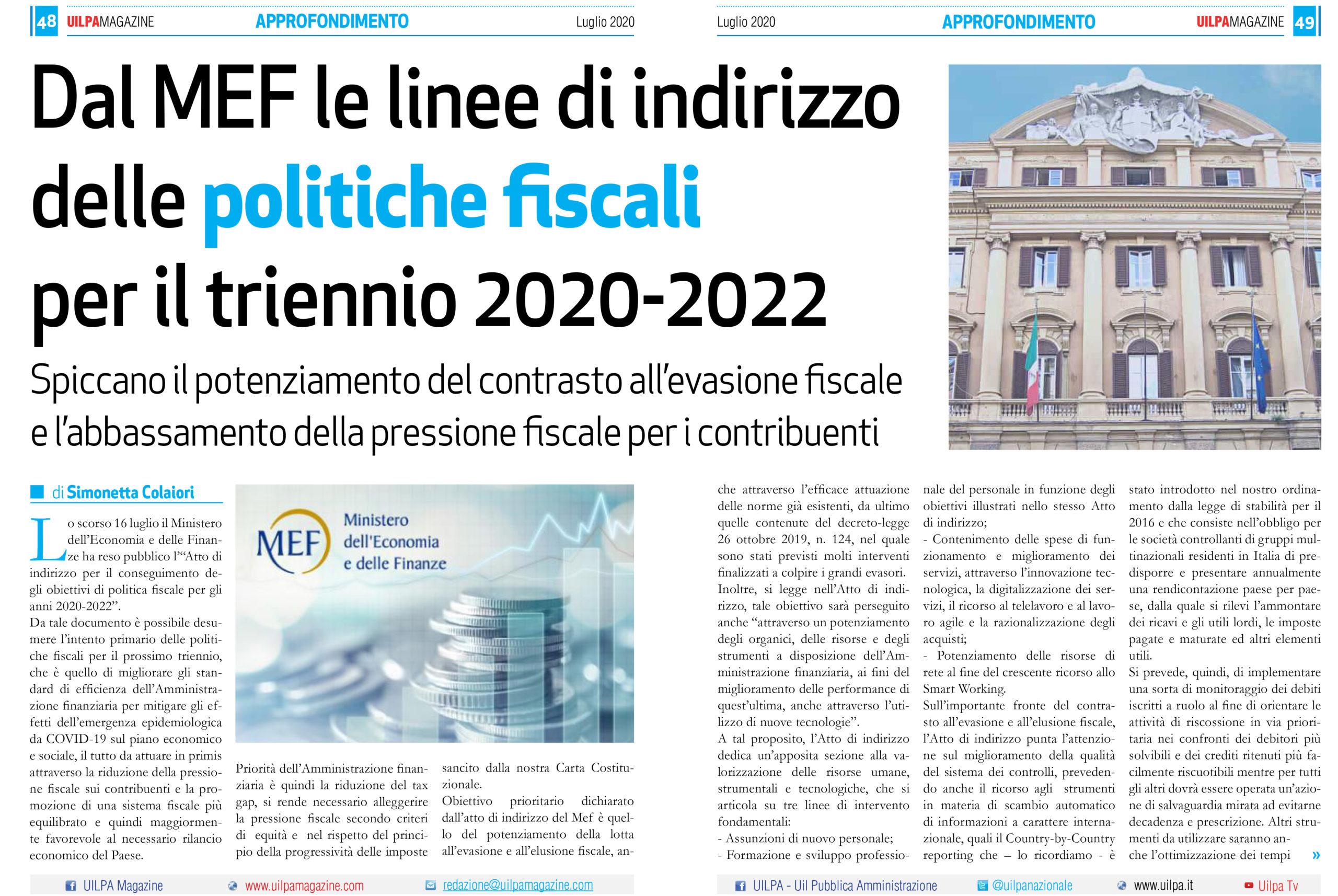 Dal MEF le linee di indirizzo delle politiche fiscali per il triennio 2020-2022